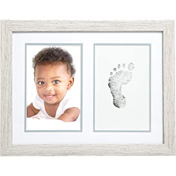 Kate & Milo Rustic Baby Footprint Photo Frame and Ink Kit, Woodland Nursery Décor, Rustic Picture Frames