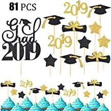 81 Pieces 2019 Graduation Cupcake Cake Toppers Food Fruit Picks for Graduation/ Grad Party Decoration