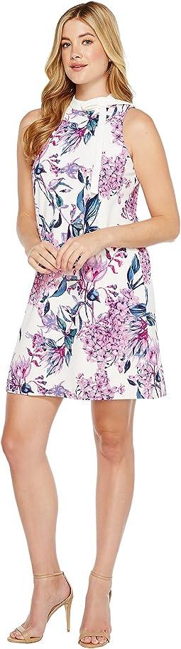 Floral Sleeveless Scuba Crepe Mock Neck w/ Tie