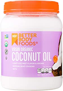 BetterBody Foods Organic Virgin Coconut Oil — Cold-Pressed and Unrefined Coconut Oil, Medium Temperature Co...