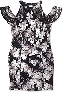 Bebe womens Floral Printed Sheath Dress With Cold Shoulder Ruffle Sleeve Cocktail Dress