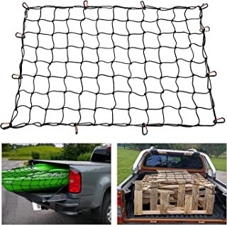 3'x4' to 6'x8' Heavy Duty Bungee Cargo Net, Latex Truck Bed Mesh Truck Bed Net Storage - 12pcs Free Carabiners & Storage Bag for Loads Tighter Cargo Hitch