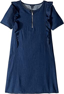 Short Sleeve Ruffle Denim Shift Dress (Big Kids)