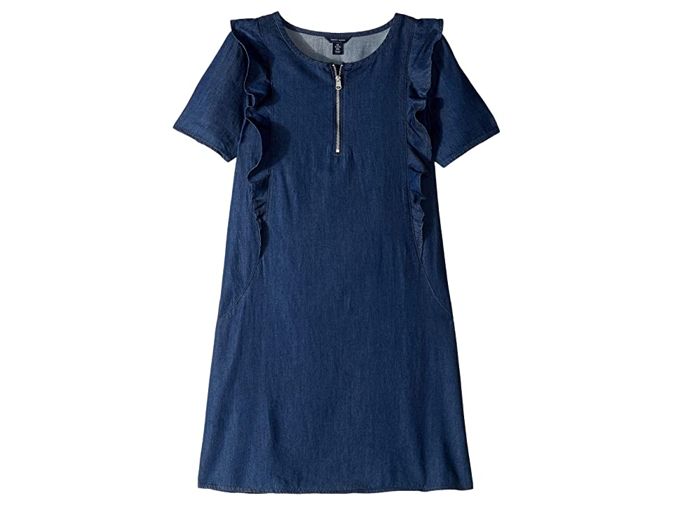 Tommy Hilfiger Kids Short Sleeve Ruffle Denim Shift Dress (Big Kids) (Madison Wash) Girl