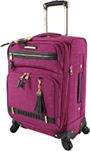 Steve Madden Designer Luggage - Checked Large 28 Inch Softside Suitcase - Expandable for Extra Packing Capacity - Lightweight Bag with Rolling Spinner Wheels (Peek-A-Boo Purple)