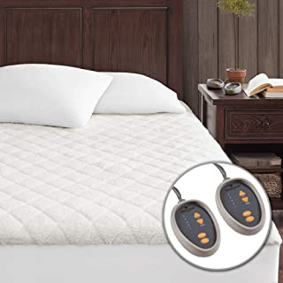 Woolrich Sherpa ELEC MATT Mattress Pad with Auto Shut Off Timer and Two 5 Heat Level Setting Controllers Super Warm, Full, White