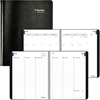 Blueline Weekly Academic Planner, 13-Month, July 2020 to July 2021, Twin-Wire Binding, 11 X 8.5 Inches, Black (CA958.BLK-21)