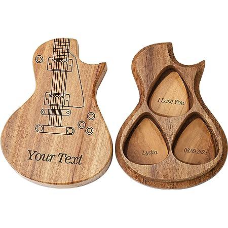 Médiators de guitare en bois personnalisés personnalisés et étui de sélection créatif personnalisé cadeau de musique de choix de guitare avec 3 pièces de guitare pour guitare basse acoustique