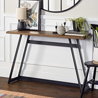Walker Edison Furniture Industrial Farmhouse Round Accent Entryway Table, 46 Inch, Brown..