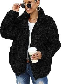Women's Coat Casual Lapel Fleece Fuzzy Faux Shearling Zip Up Warm Winter Oversized Outwear Jackets with Pockets