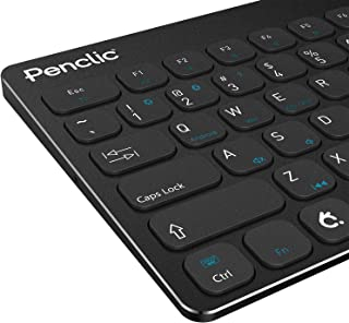 Penclic KB3 Bluetooth Wireless Mini Keyboard for iOS, Mac, PC, Android, TV. Small, Compact, Low Profile with Premium Metal Body & Wired Keyboard Option
