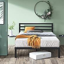 Zinus Mia Double Black Bed Frame Modern Metal Steel Headboard Furniture Mattress Platform with Under Bed Storage