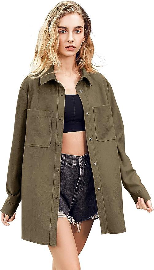 Women Faux Suede Jacket Button Up Shirt Coat Long Sleeve Oversize Jacket