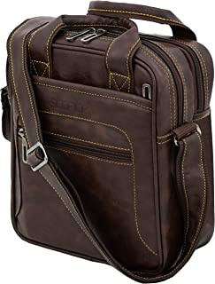 Storite Stylish PU Leather Sling Cross Body Travel Office Business Messenger Bag for Men Women (22x26.5x10 cm, Chocolate B...
