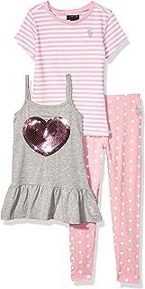 Girls' Striped Knit T-Shirt, Peplum Tunic Tank Top, and...
