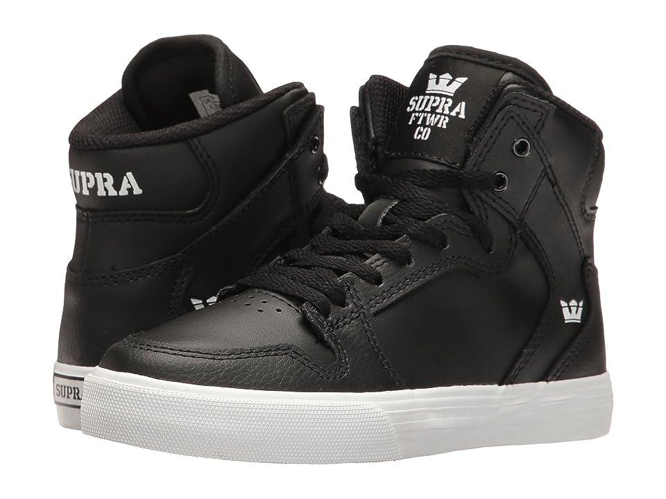 Supra Kids Vaider (Little Kid/Big Kid) (Black/White) Boys Shoes