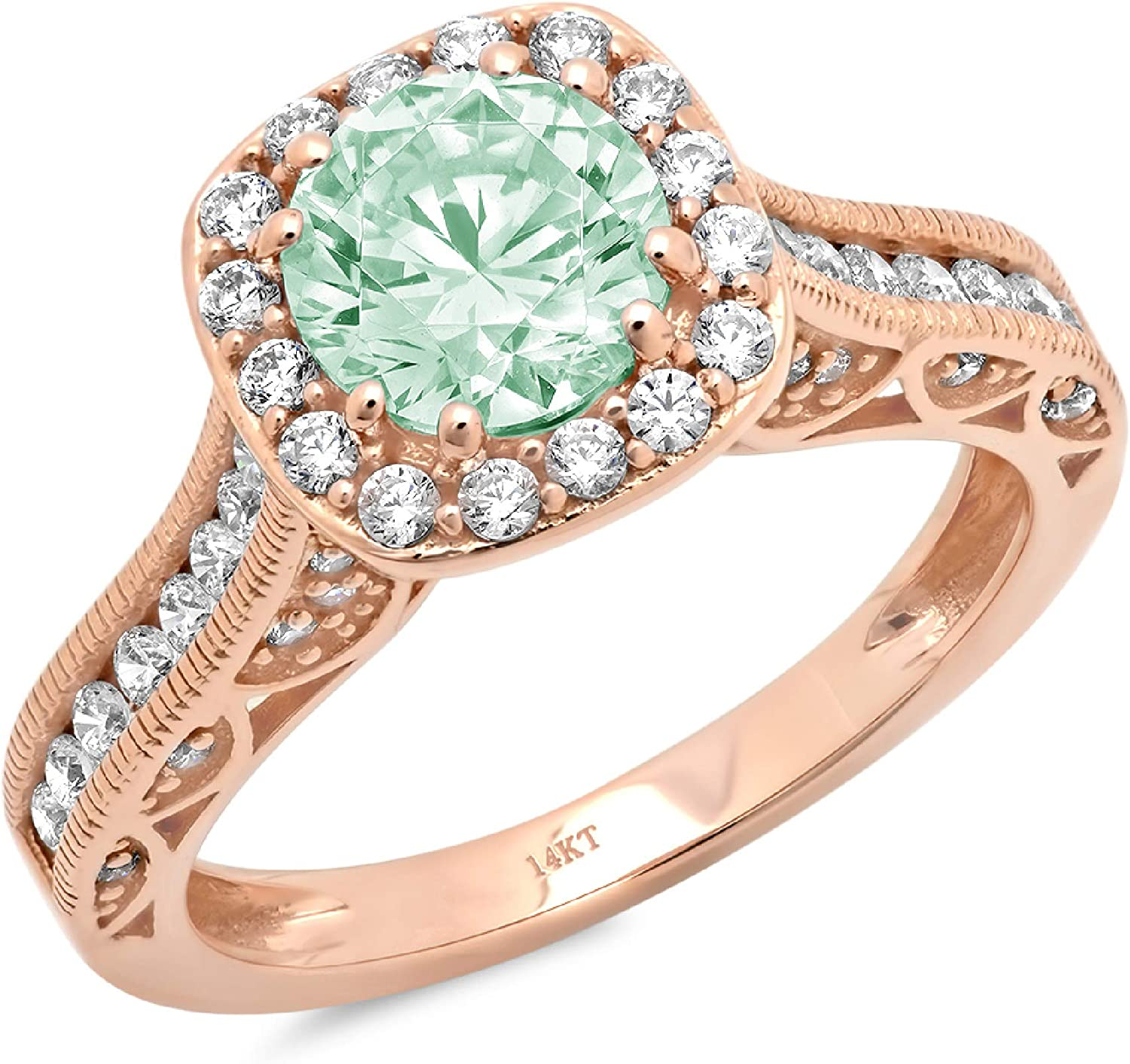 1.89ct Brilliant Round Cut Solitaire Halo Turquoise Green Ideal VVS1 Simulated Diamond CZ Engagement Promise Statement Anniversary Bridal Wedding Accent Ring Solid 14k Rose Gold