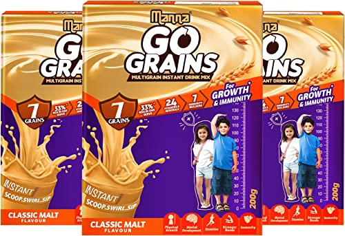 Manna Go Grains Malt 600g 200g x 3 Packs Health and Nutrition Multigrain Malted Drink for Growth Immunity High Protein 7 Immunity builders 24 Vitamins and Minerals for Growth