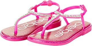 bebe Girls' Sandals - Rhinestone Studded Leatherette Sandals with Buckle Straps (Toddler/Little Kid)