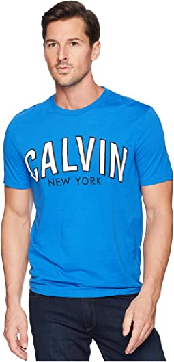 Short Sleeve Calvin Outlined Printed Logo Tee