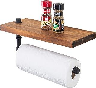 MyGift Burnt Wood & Black Pipe Floating Shelf & Paper Towel Holder