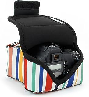 USA Gear Funda para Cámara DSLR con Protección de Neopreno Presilla para Cinturón y Almacenamiento de Accesorios - Compatible con Nikon D3400 Canon EOS Rebel SL2 Pentax K-70 y más - Rayas