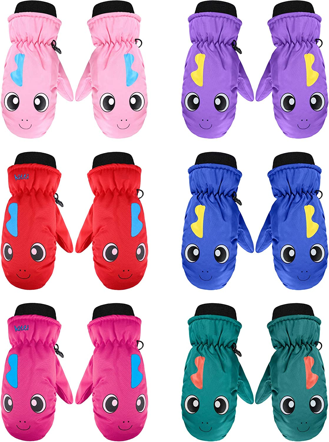 6 Pairs Kids Limited time cheap sale Winter Snow Mittens Unis Waterproof Warm Ski Ranking TOP9 Gloves