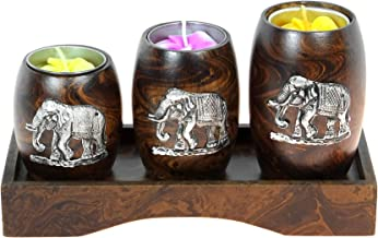 Three Mini Barrel Pewter Elephant Wooden Tea Light Candle Holder Set