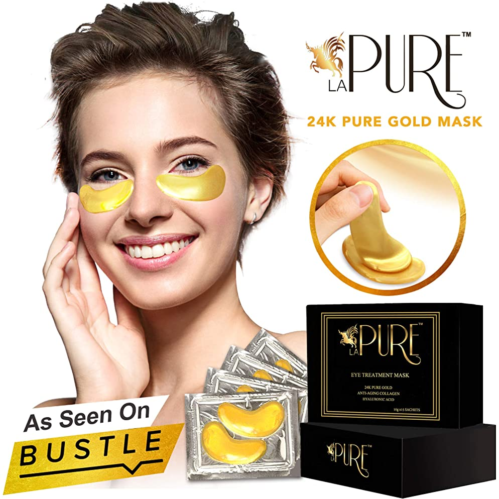 LA PURE 24K Gold Eye Treatment Mask | Under Eye Patches, Anti-Wrinkle, Under Eye Bags Treatment, Eye Mask for Puffy Eyes | 15 Pairs (Pack of 1)