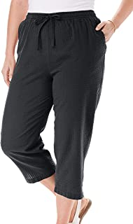 Woman Within Women's Plus Size Petite Seersucker Capri Pant