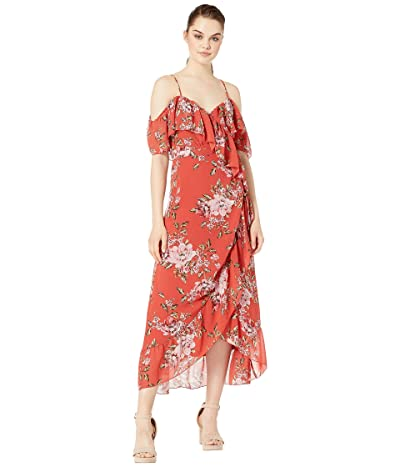 WAYF Nanette Ruffle Wrap Midi Dress (Red Floral) Women