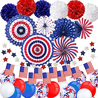 20PCS 4th//Fourth of July Patriotic Decorations Set 4 pieces Crazy Hair Headband Patriotic Colorful Hairy Headband 4 pieces American Flag Shutter Glasses and 12 pieces Patriotic Bead Star Necklaces