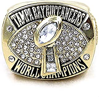 HASTTHOU Super Bowl Championship Replica Ring for Sports Fans (2002 Tampa Bay Buccaneers, Without Box)