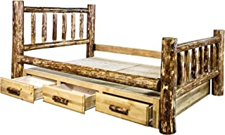 Montana Woodworks Glacier Country Collection Queen Bed with Storage, Stained & Lacquered