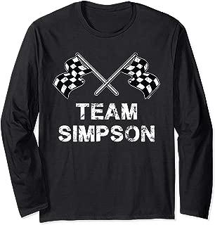 Vintage Team Simpson Family Name Checkered Flag Racing Long Sleeve T-Shirt
