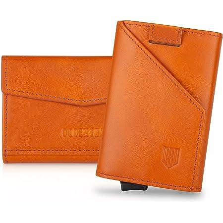 DODENSHA Card Holders Wallet Leather Wallets Mens Slim Wallets Minimalist Wallet Pop Up Design, RFID Wallets for Men with Large Coin Pocket, for 8 Cards (Orange)