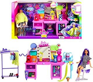 Barbie Extra Doll & Vanity Playset with Exclusive Doll, Pet Puppy & 45+ Pieces Including Vanity, Rolling Clothing Rack, Li...