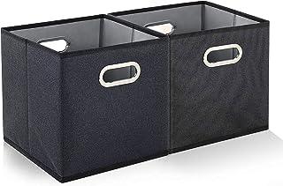 Boite Rangement Tissu Lot de 2- Boite de Rangement Pliable avec Poignée en métal- Cubes de Rangement Tissu pour Jouets,Vêt...