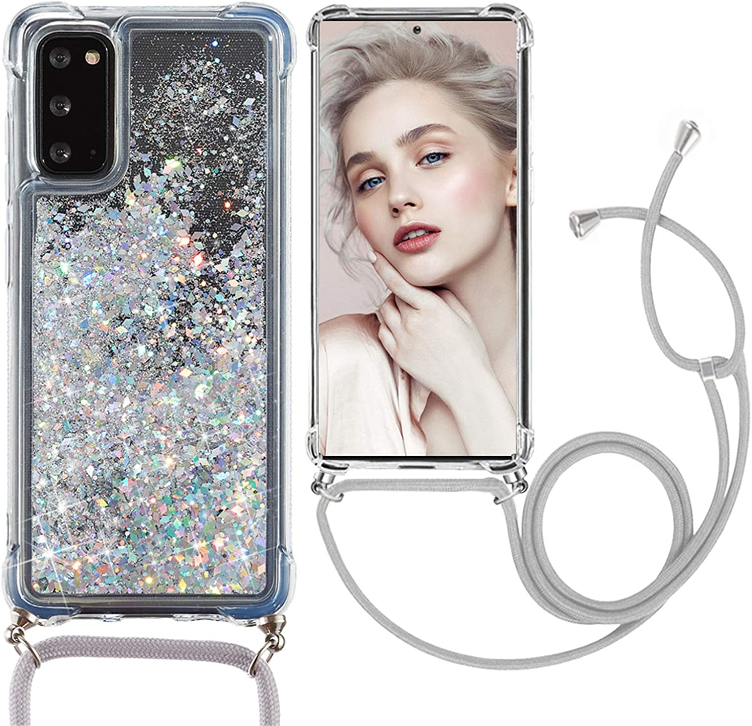 Galaxy Note 20 Clear Case with Lanyard Crossbody Glitter Case Floating Quicksand Protective Case Sparkle Bling Transparent Shell Compatible with Samsung Galaxy Note 20 Strap Case with Cord Nylon