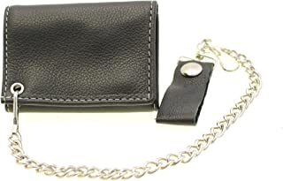 Men's Small Trifold Biker Wallet With A Chain Contrast Stitching Made In USA