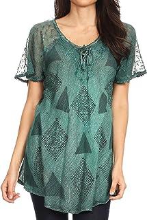 Sakkas 19206 - Allegra Damen Kurzarm Loose Fit Lässige Tie Dye Bluse Tunika Shirt - 19209-Petrol
