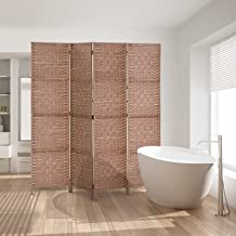Artiss 4 Panel Room Divider Rattan Folding Partition - Natural