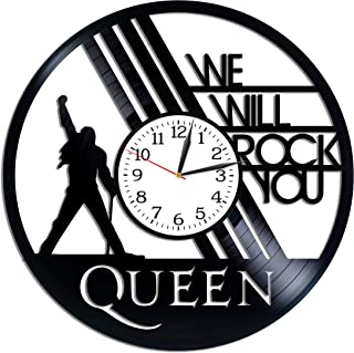 Kovides Queen Wall Clock Rock Band Art Lp Vinyl Retro Record Wall Clock Vintage Freddie Mercury Clock Birthday Gift for Woman Queen Art Rock Music Art Xmas Gift Idea for Him