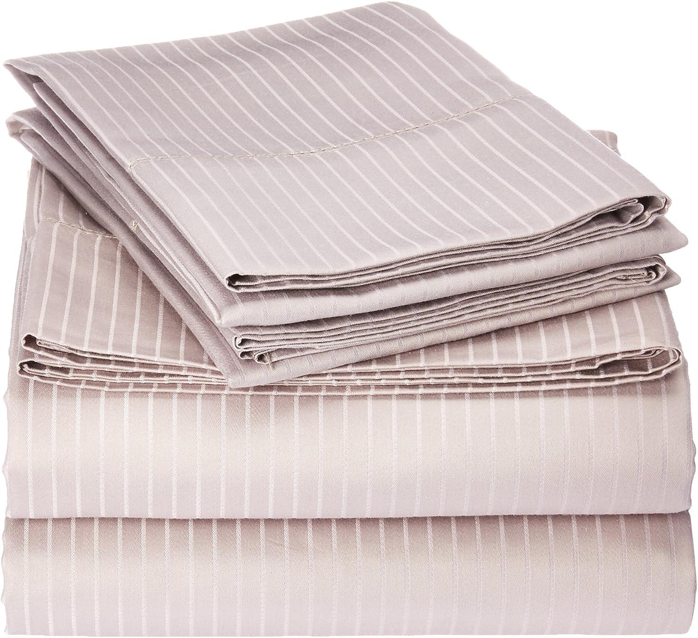 Elle 1000 Thread Count Cotton-Rich Pinstripe Sheet Set, Full, Gull Grey