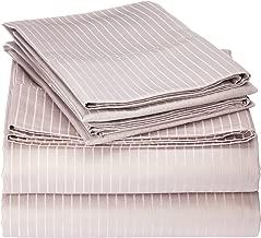 Blue Ridge Home Fashions Elle 1000 Thread Count Cotton-Rich Pinstripe Sheet Set, Full, Gull Grey