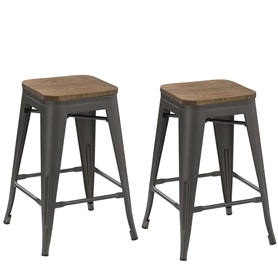 BTEXPERT 24-inch Industrial Tabouret Antique Distressed Gunmetal Stackable Dining Metal Bar Stools Handmade Wood top seat (Set of Two)
