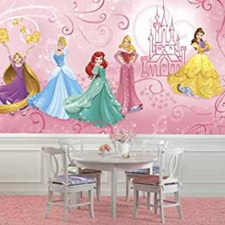RoomMates JL1388M Disney Princess Enchanted Water Activated Removable Wall Mural-10.5 x 6 ft, Multicolor