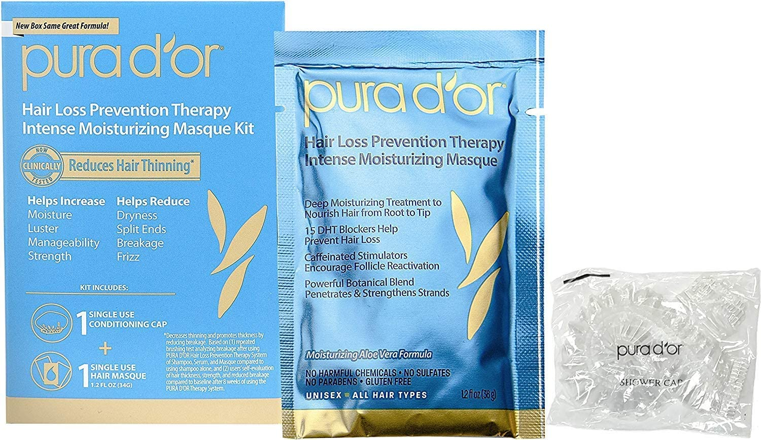 PURA D'OR Hair Thinning Therapy Pouch Masque Conditioning 35% OFF 1 NEW before selling +