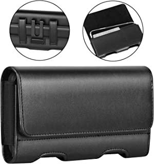 BECPLT Galaxy Note 10+ Plus 5G Holster Black Leather Carrying Cell Phone Holder Belt Clip Holster Case Pouch for Samsung Galaxy Note 10 Plus 5G /Galaxy Note 9 (Fit w/Thin Case on) -Black