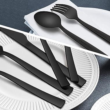 Homikit 20-Piece Black Silverware Flatware Set, Stainless Steel Square Cutlery Set for 4, Eating Utensils Tableware Include K